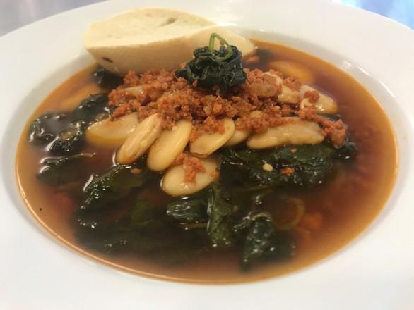 chorizo + butter bean + baby kale soup