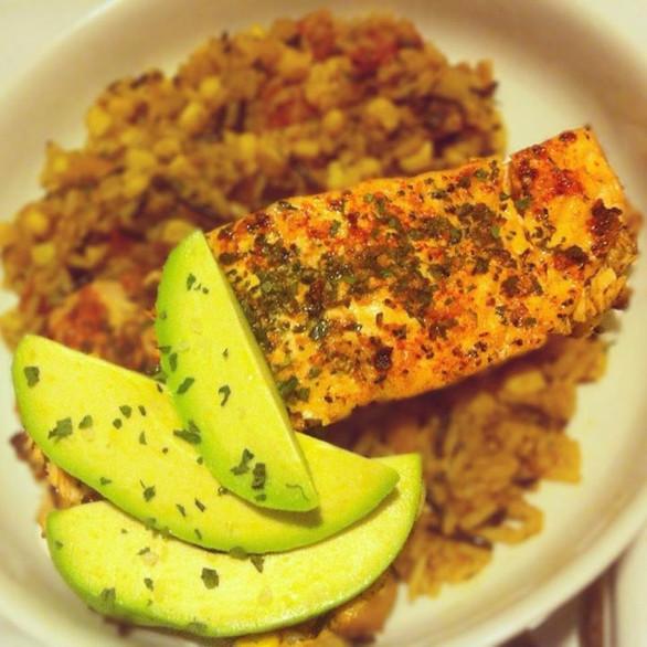 quinoa corn salad + citrus salmon + fresh avocado