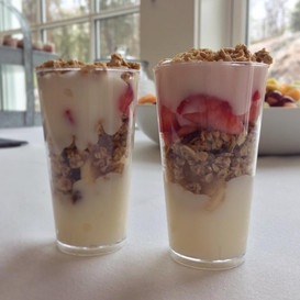 fruit + yogurt + granola peite parfait