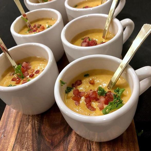 oven roasted butternut squash soup + crispy pancetta