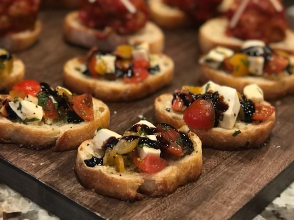 rainbow tomato + sweet balsamic + fresh mozzarella crostini