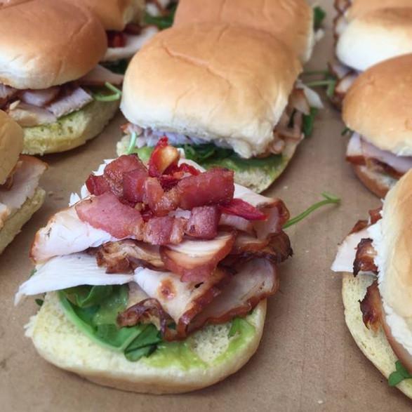 turkey + bacon + avocado + baby green + country roll sliders