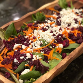 dried cranberry + crumbled goat cheese + shredded carrot + balsamic + baby greens