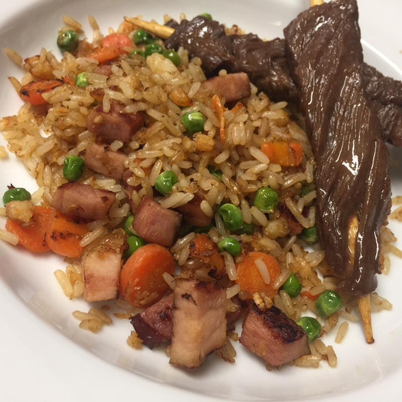 fried rice + beef teriyaki