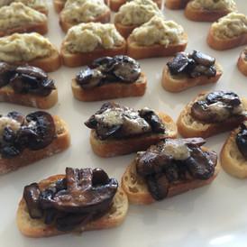 roasted mushroom + gooey gruyere crostini
