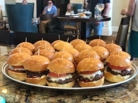 cheddar + tomato + beef burger + brioche bun sliders
