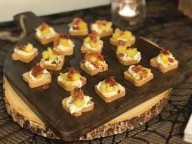 pineapple + bacon + cream cheese canape