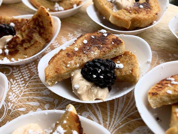 cinnamon french toast w. blackberry + maple butter