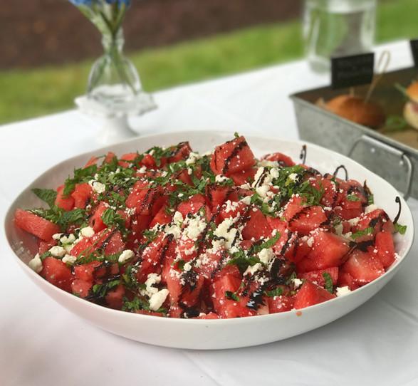 watermelon + feta + balsamic + mint