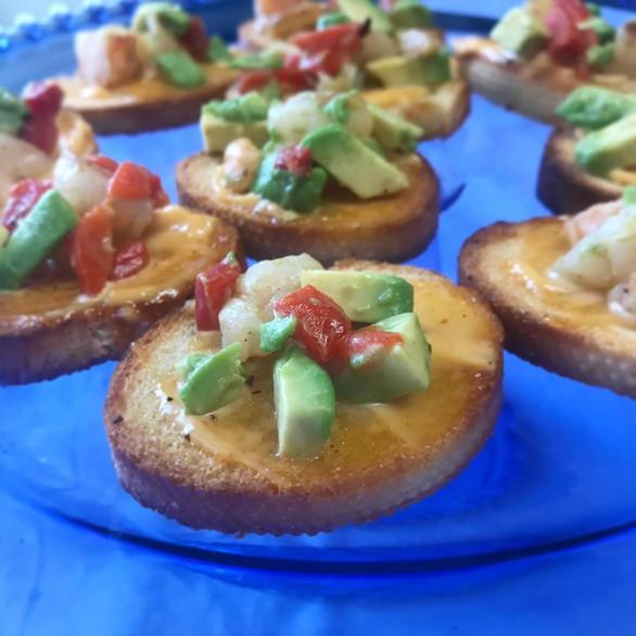 seared sea scallop + roasted red pepper + avocado crostini