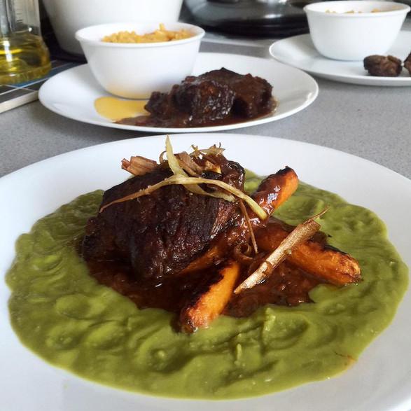 braised short rib + buttery carrot + spring pea + crispy leek