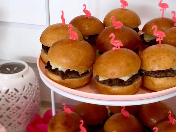 sharp cheddar + beef burger + brioche bun sliders
