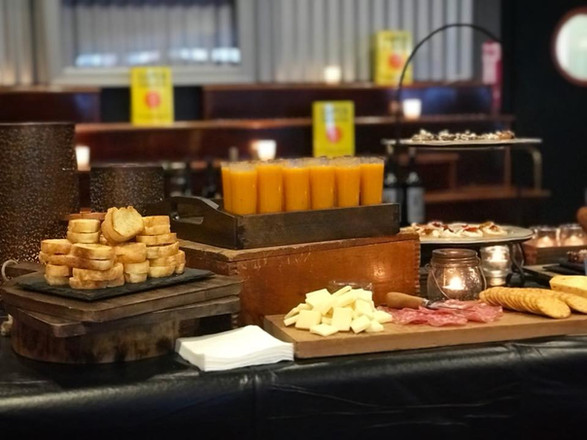 petite baguette grilled cheese + oven roasted butternut squash soup shooters + charcuterie