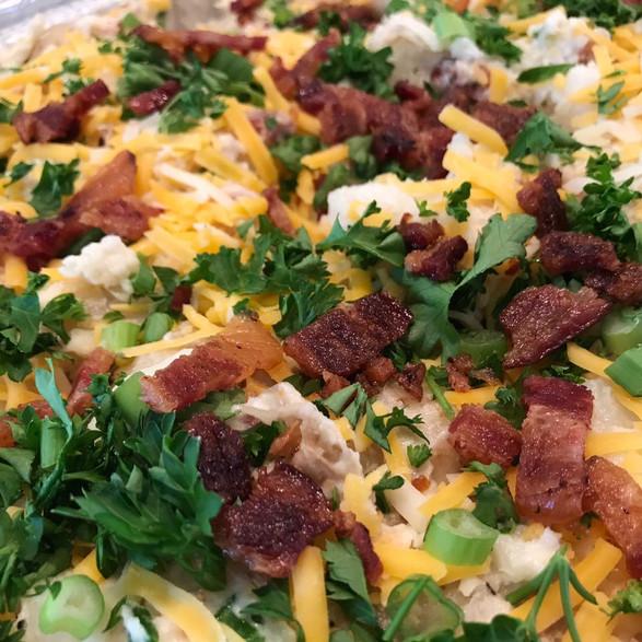 bacon + cheddar + spring onion + cream potato salad
