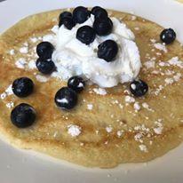 blueberry + fresh cream + crepes