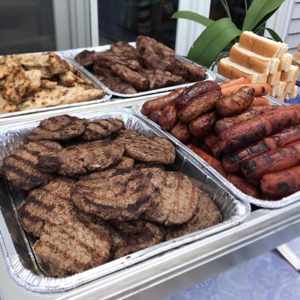 burgers + sausage + steak + chicken