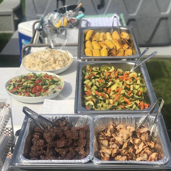 steak + chicken + vegetable + corn + potato salad  + green salad