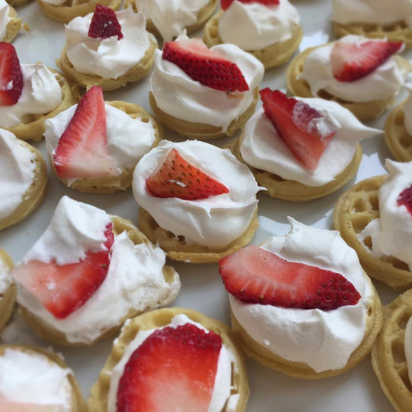 baby buttermilk waffle + whipped sweet cream + fresh strawberry canape