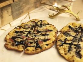 prosciutto + olive oil + sweet balsamic + mozzarella flatbread