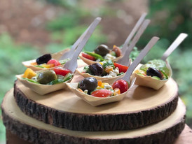 chopped cucumber + rainbow tomato + fresh feta + greek olive