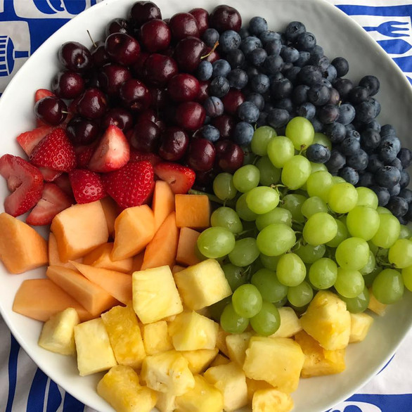 fresh cut fruit + ripe berries