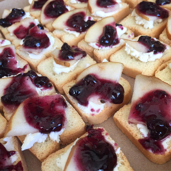 goat cheese + blueberry + pear cana