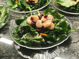 butter bean + white balsamic + dried cranberry + baby kale