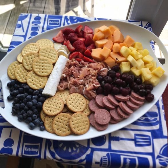 cheese + charcuterie + fruit + crisps