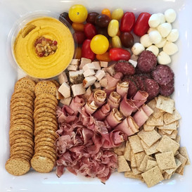 hummus + cracker + meat + cheese