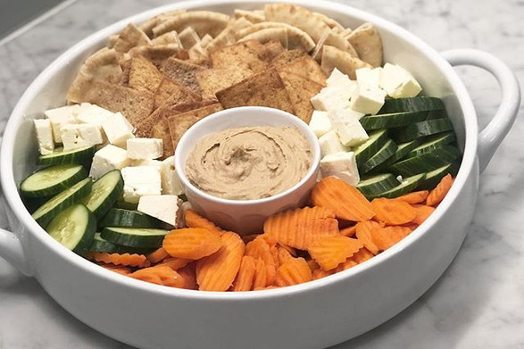 hummus + pita + fresh feta + cut veggies