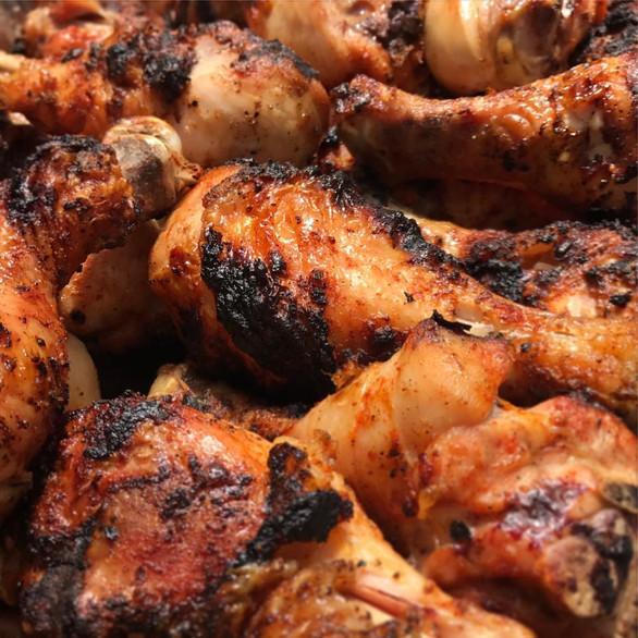 charred bbq chicken drums