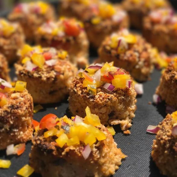 sriracha salmon cakes + diced pineappple + sweet pepper