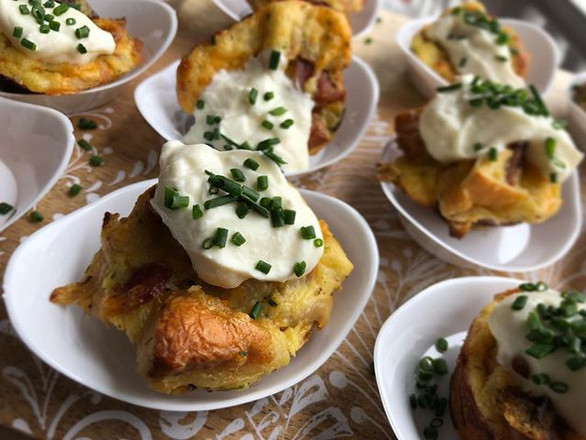caramelized onion + bacon bread pudding w. creamy cloumage + chopped chive