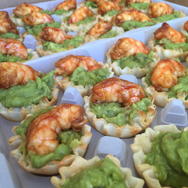 sweet soy shrimp + creamy avocado canape cups