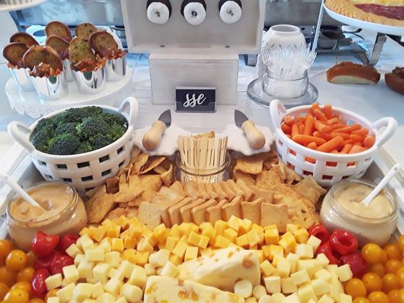cheese + crudites + crisps + dip