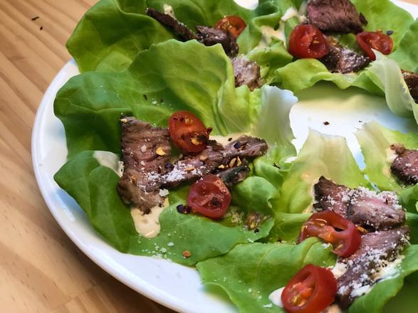 steak + caesar + tomato + red pepper + parmesan + butter lettuce wraps