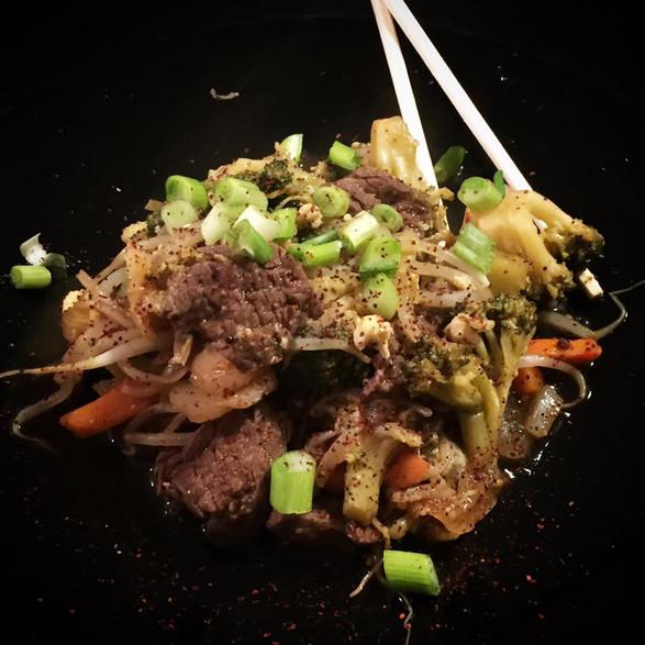 stir fried steak + vegetables
