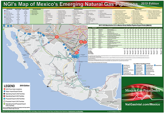 Mexic Natural Gas Pipeline Map for Conference Event Mistream Forum