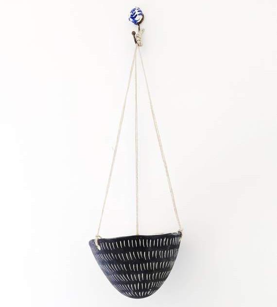 Dash Pattern Hanging Planter in Black &