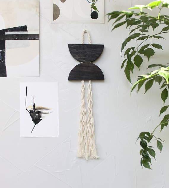 Blackened Oak & Rope Small Dune Hanging