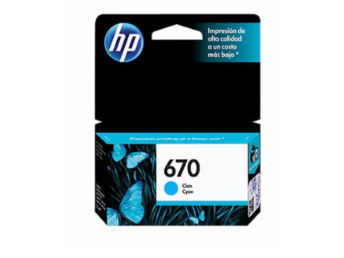TINTA HP 670 CYAN P/ INK ADVANTAGE 3525, 4615, 4625, 5525 (CZ114AL)