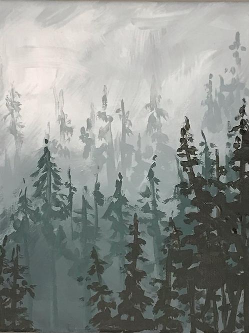 Zoom Paint Night - Misty Winter Trees
