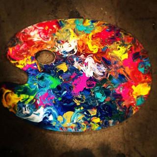 Literally _palette painting!_! #watchmeontv _amnorthwest #paintingpalette #paintedpalette  #funproject #asseenontv #demo #artptoject