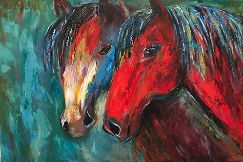 Study of Two Mustang Horses