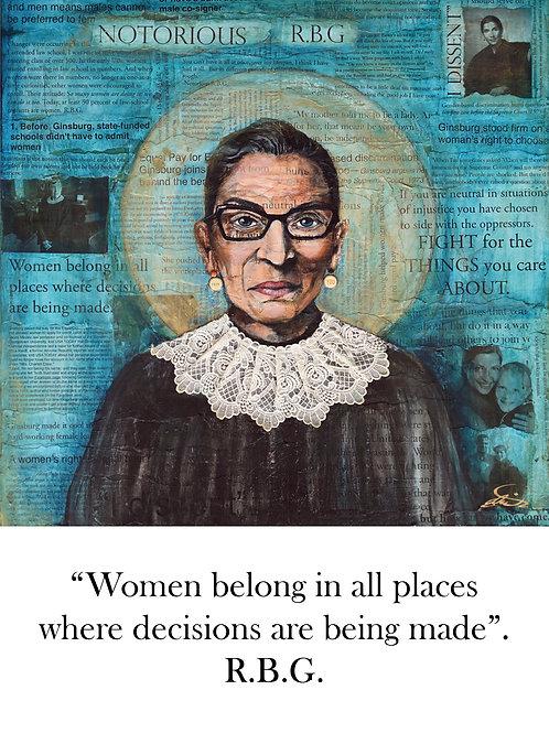 """R.B.G. """"Women belong..."""" Notecard"""
