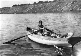 Young lady in a boat, Anapa, USSR, 1934