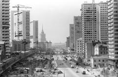 Construction of Kalininsky prospekt, Moscow, USSR, 1967
