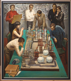 """""""Perspective. Young scientists"""" painting by Ivan Vepkhvadze, USSR, 1981"""