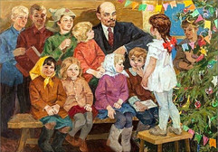 Vladimir Lenin at a New Year's Eve party, Soviet painting