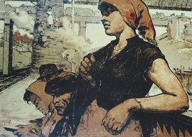 """""""Waiting for a Suburban Electric Train"""" painting by Boris Ginsburg, USSR, 1960"""